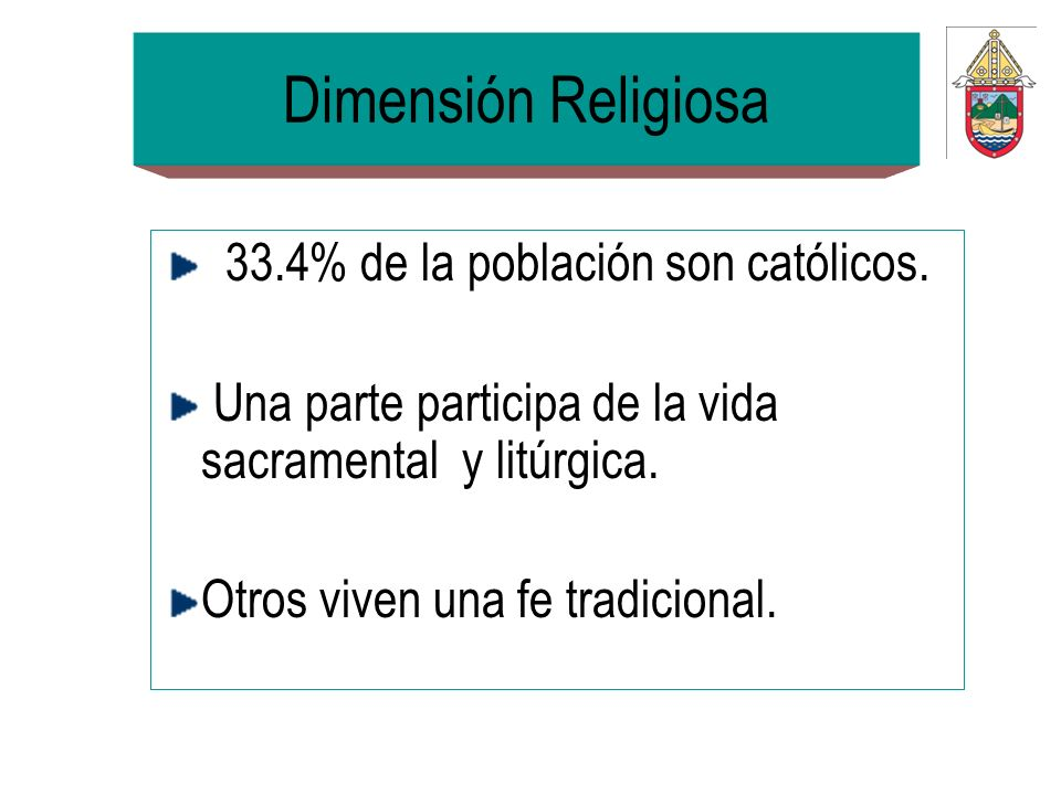 Dimensión Religiosa 33.4% de la población son católicos.