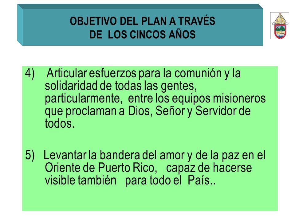 OBJETIVO DEL PLAN A TRAVÉS DE LOS CINCOS AÑOS