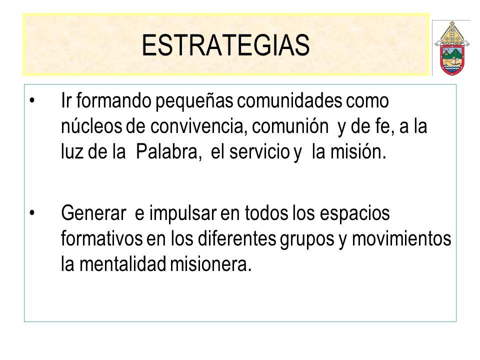 ESTRATEGIAS Ir formando pequeñas comunidades como núcleos de convivencia, comunión y de fe, a la luz de la Palabra, el servicio y la misión.
