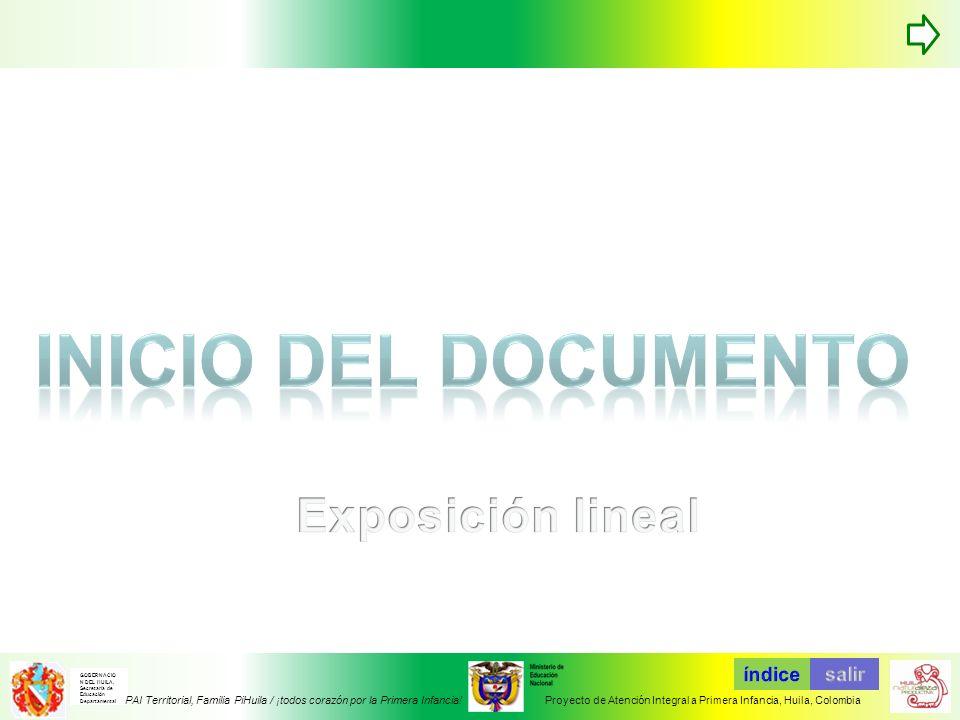 Inicio del documento Exposición lineal TABLA DE CONTENIDOS índice