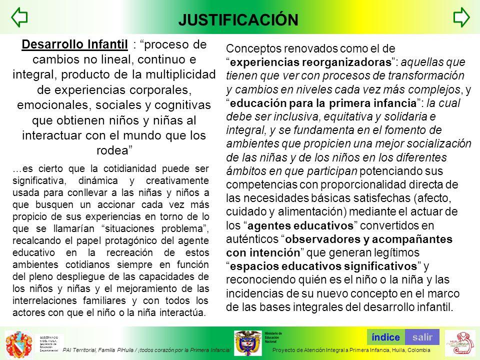 JUSTIFICACIÓN TABLA DE CONTENIDOS