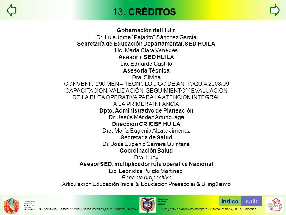 13. CRÉDITOS Gobernación del Huila