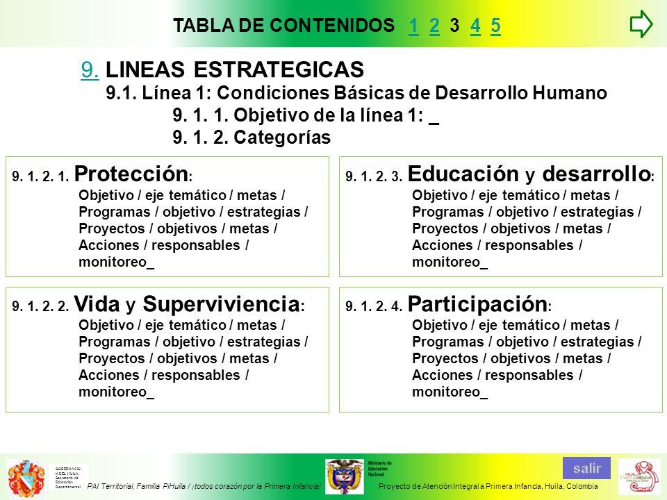 9. LINEAS ESTRATEGICAS TABLA DE CONTENIDOS 1 2 3 4 5