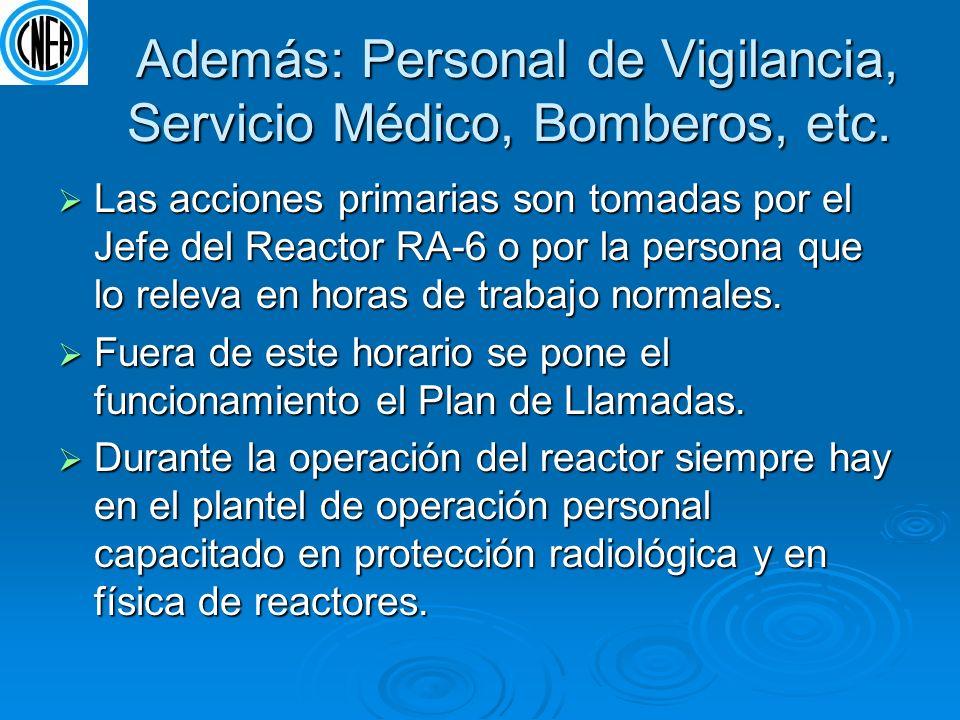 Además: Personal de Vigilancia, Servicio Médico, Bomberos, etc.