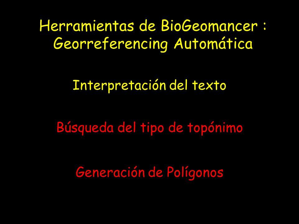 Herramientas de BioGeomancer : Georreferencing Automática