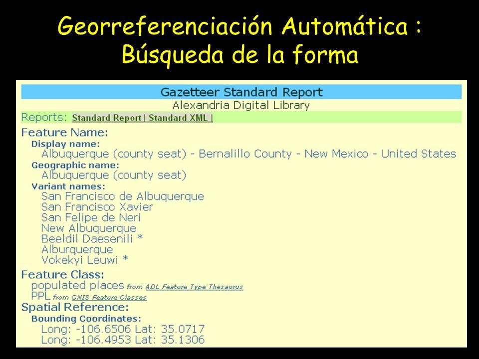 Georreferenciación Automática : Búsqueda de la forma