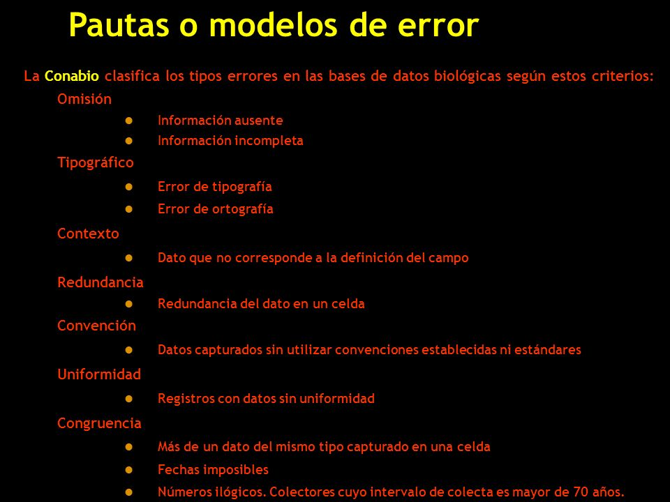 Pautas o modelos de error