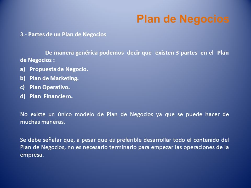 Plan de Negocios 3.- Partes de un Plan de Negocios