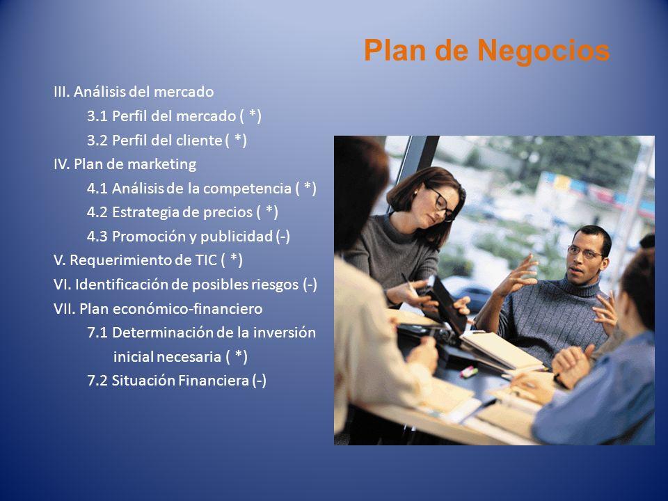 Plan de Negocios III. Análisis del mercado 3.1 Perfil del mercado ( *)