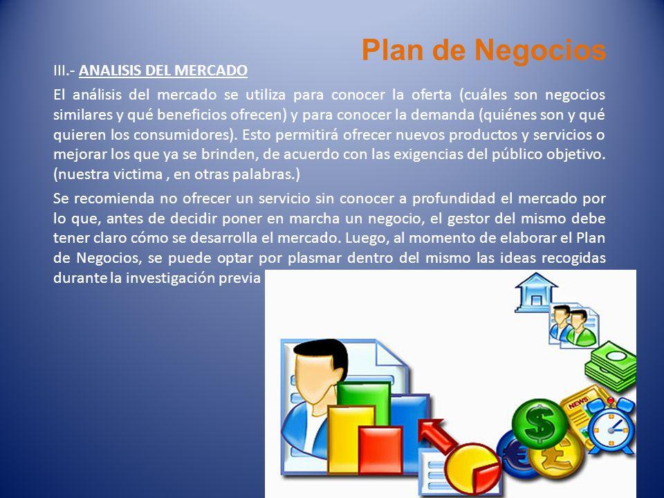 Plan de Negocios III.- ANALISIS DEL MERCADO