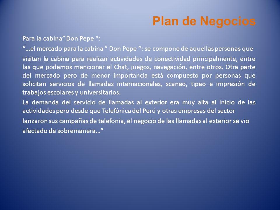 Plan de Negocios Para la cabina Don Pepe :
