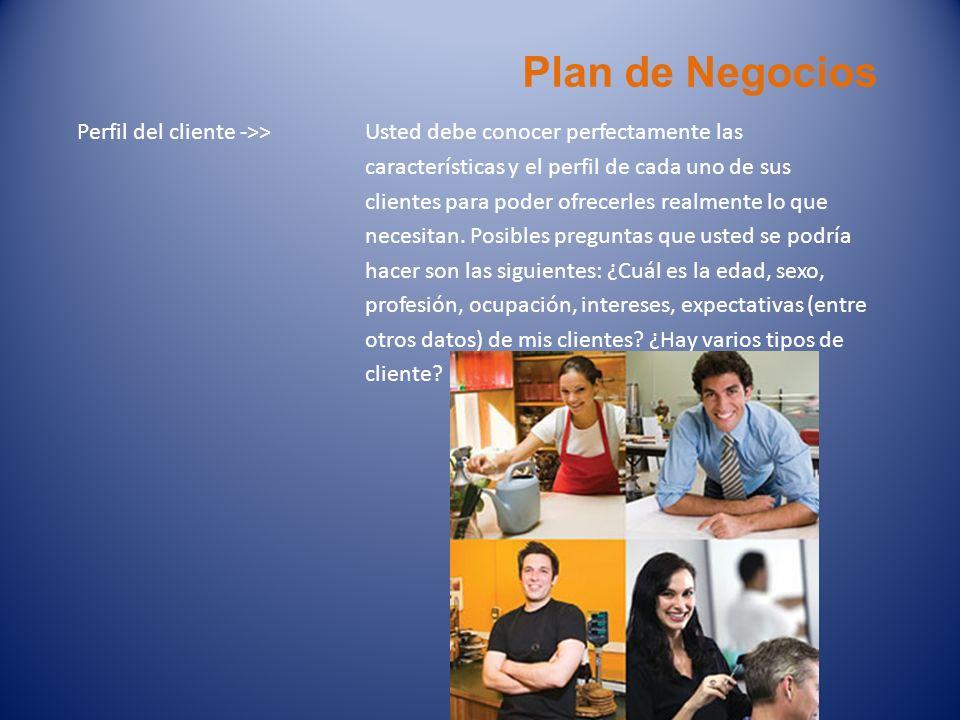 Plan de Negocios Perfil del cliente ->> Usted debe conocer perfectamente las. características y el perfil de cada uno de sus.
