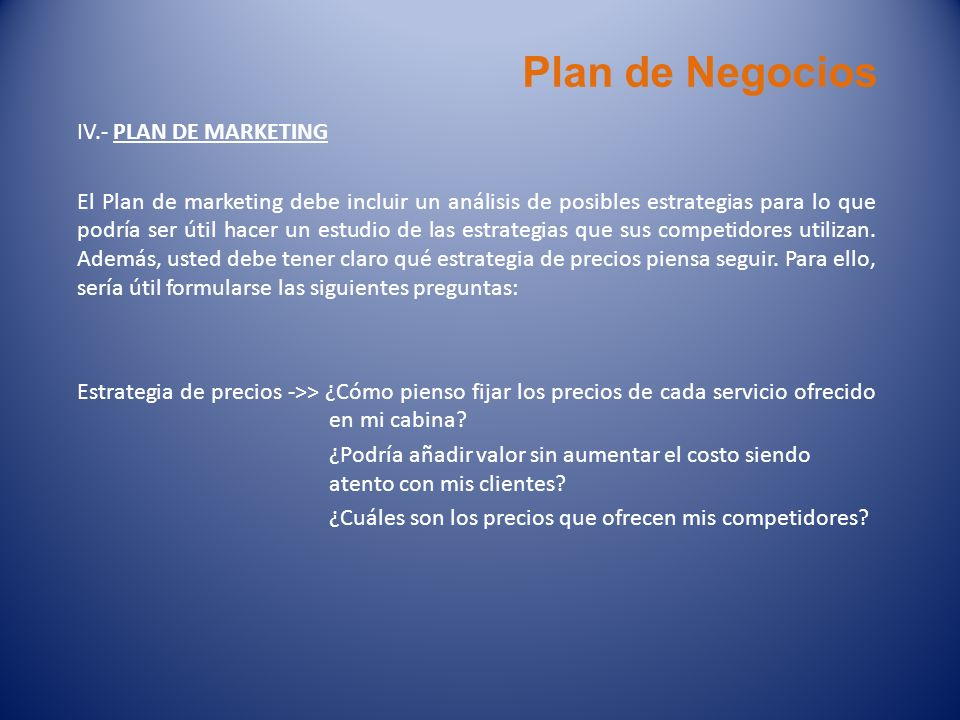Plan de Negocios IV.- PLAN DE MARKETING