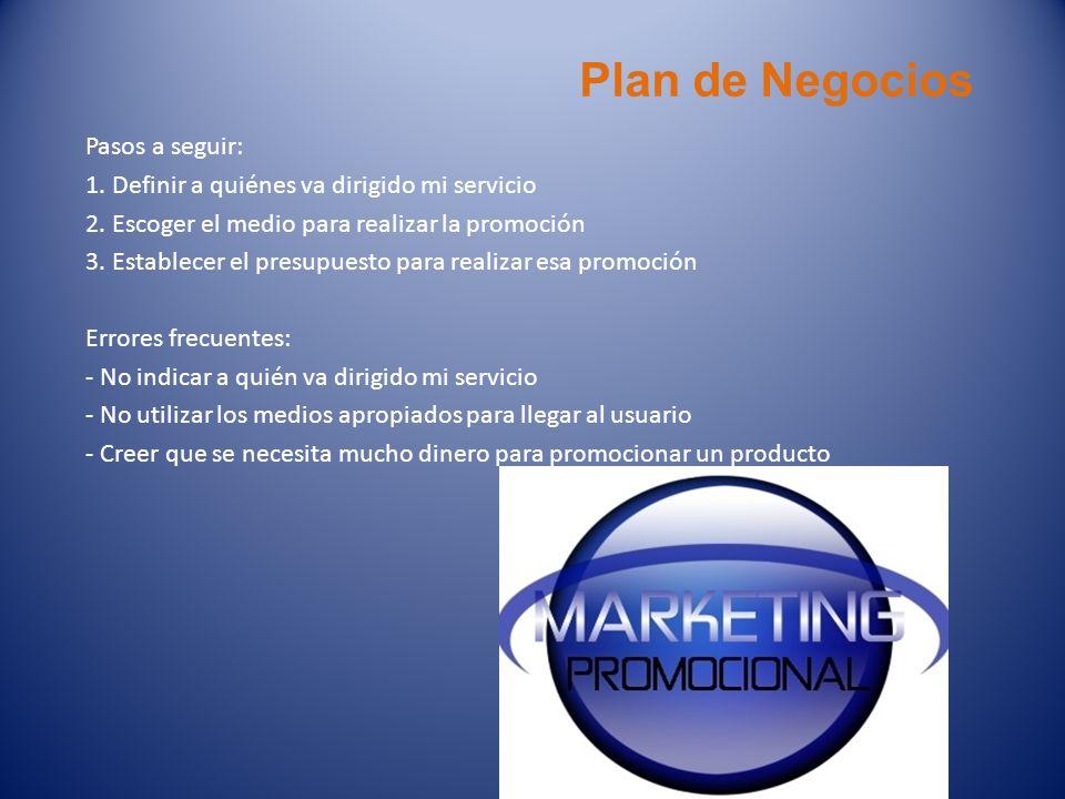 Plan de Negocios Pasos a seguir:
