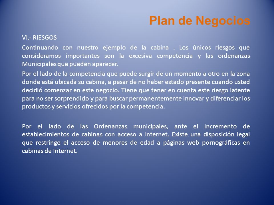 Plan de Negocios VI.- RIESGOS