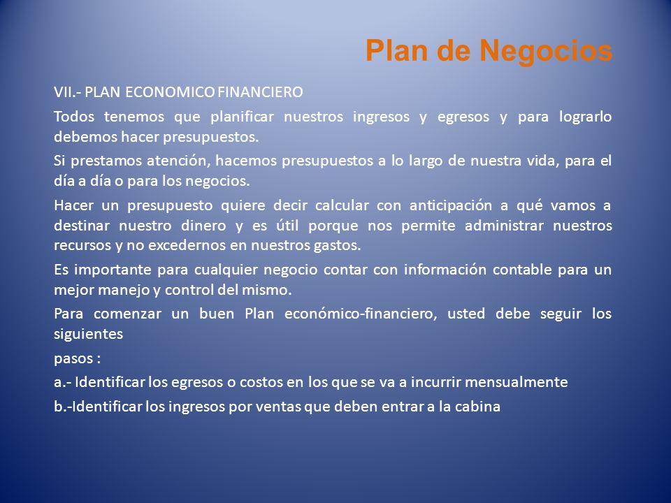 Plan de Negocios VII.- PLAN ECONOMICO FINANCIERO