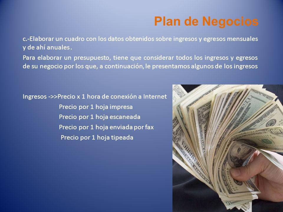 Plan de Negociosc.-Elaborar un cuadro con los datos obtenidos sobre ingresos y egresos mensuales y de ahí anuales .