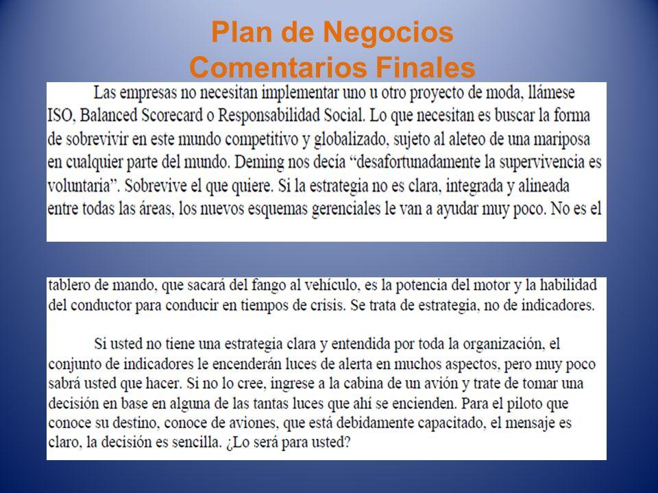 Plan de Negocios Comentarios Finales