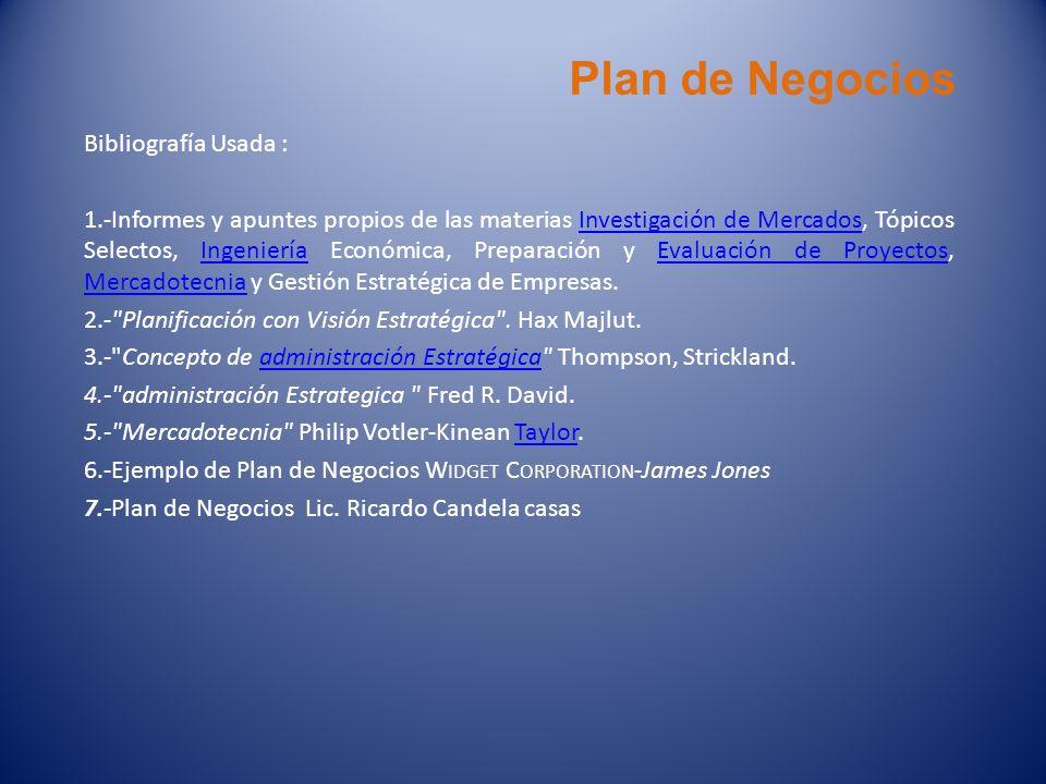 Plan de Negocios Bibliografía Usada :