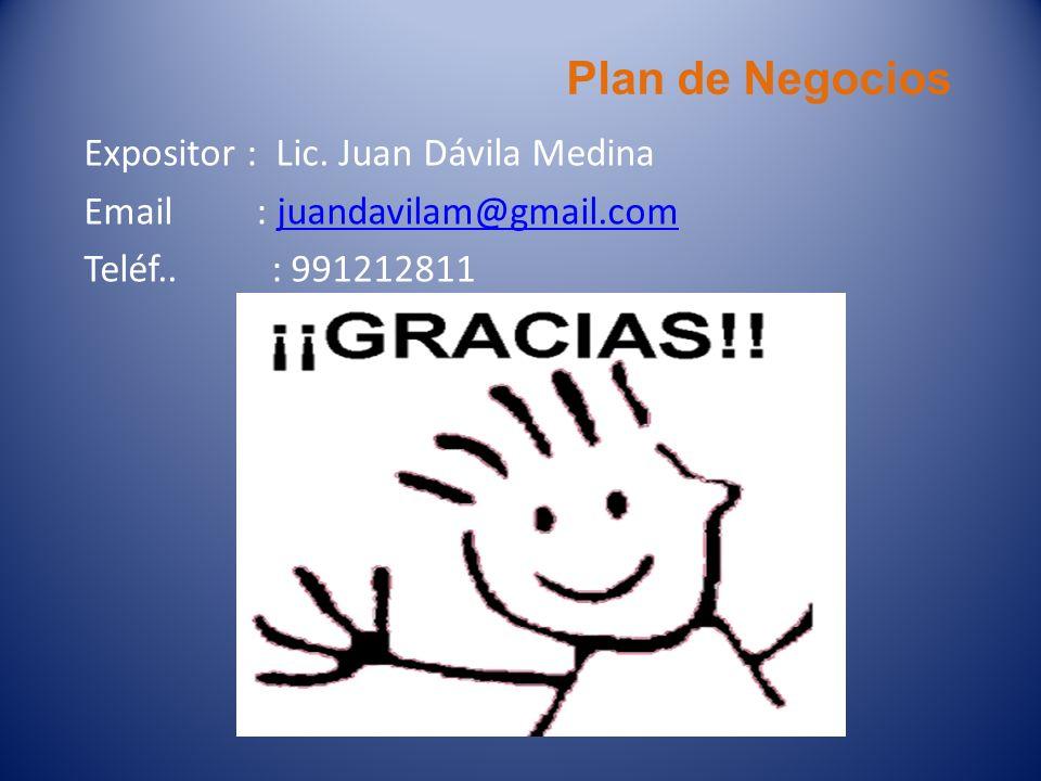 Plan de Negocios Expositor : Lic. Juan Dávila Medina