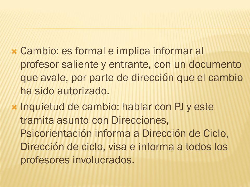Cambio: es formal e implica informar al profesor saliente y entrante, con un documento que avale, por parte de dirección que el cambio ha sido autorizado.