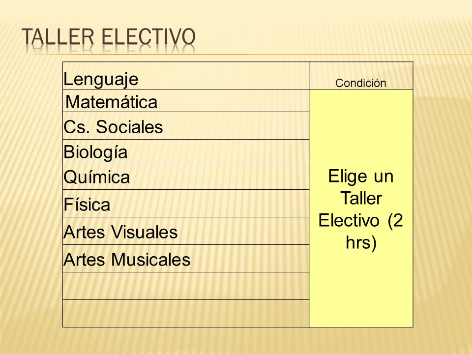 Elige un Taller Electivo (2 hrs)