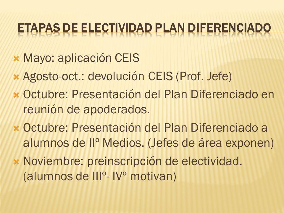 Etapas de electividad plan diferenciado