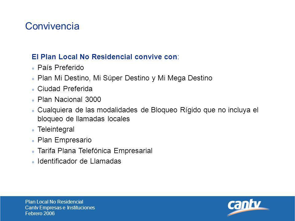 Convivencia El Plan Local No Residencial convive con: País Preferido