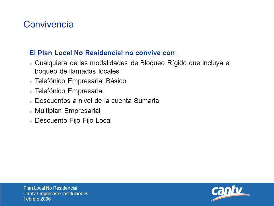 Convivencia El Plan Local No Residencial no convive con: