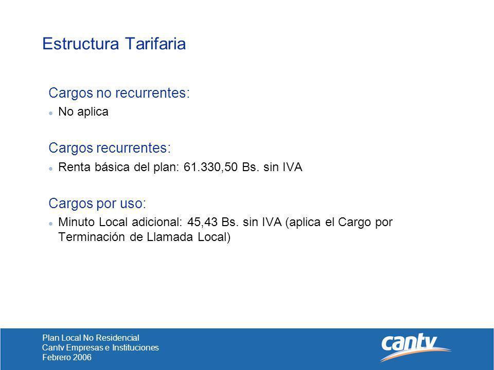 Estructura Tarifaria Cargos no recurrentes: Cargos recurrentes:
