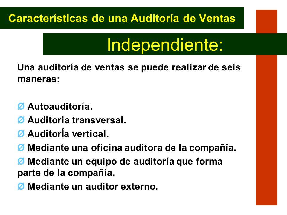 Características de una Auditoría de Ventas