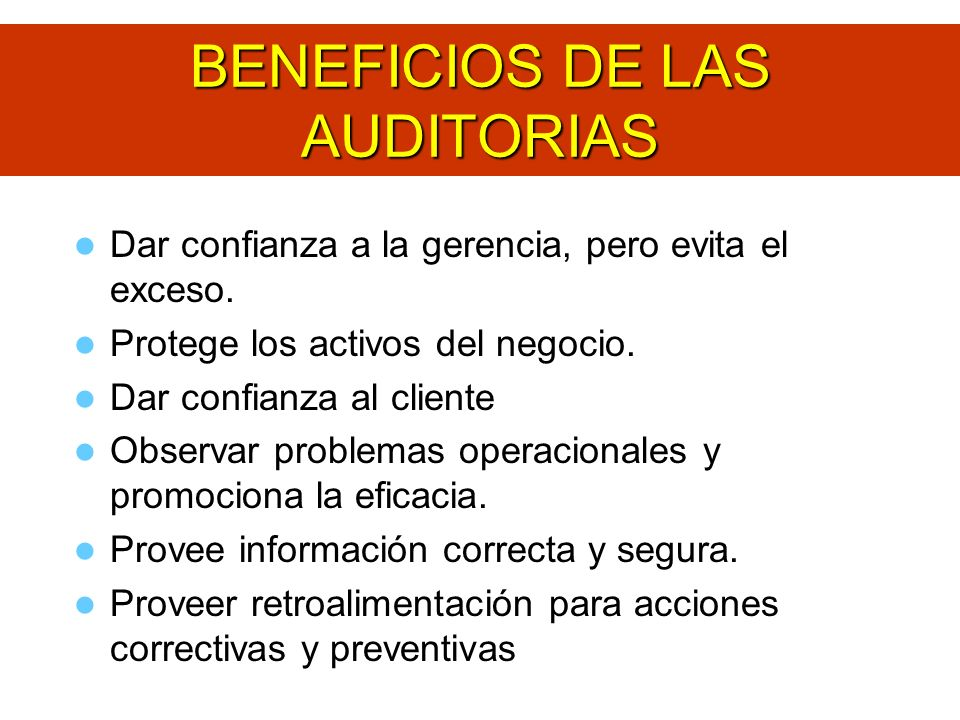 BENEFICIOS DE LAS AUDITORIAS