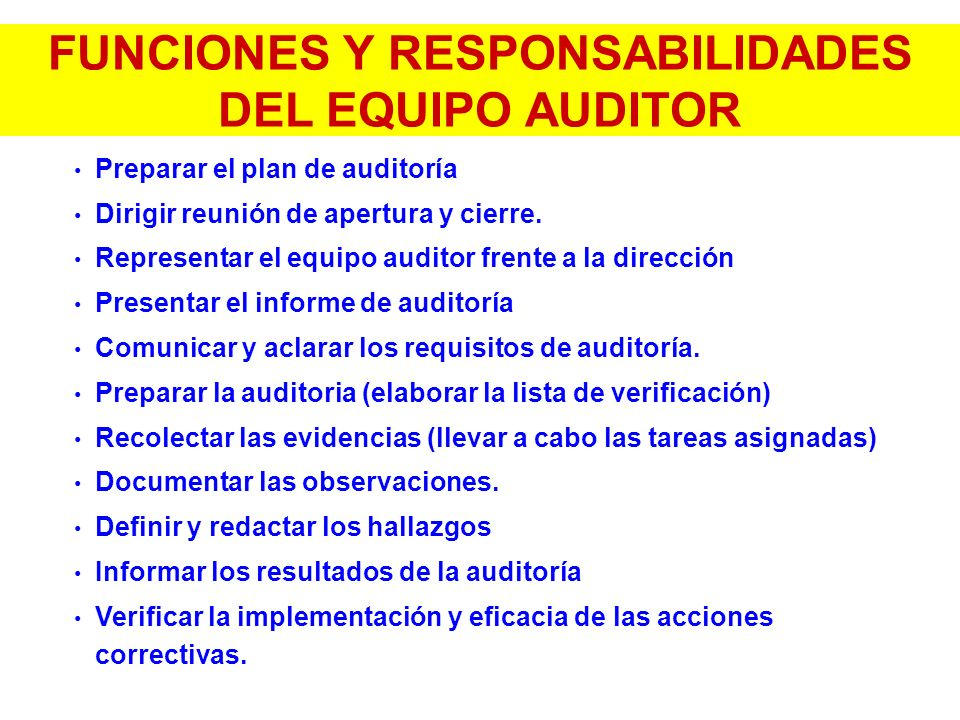 FUNCIONES Y RESPONSABILIDADES DEL EQUIPO AUDITOR