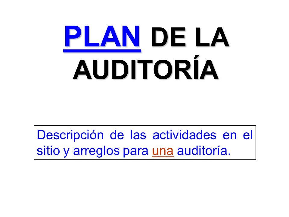PLAN DE LA AUDITORÍA Descripción de las actividades en el sitio y arreglos para una auditoría.