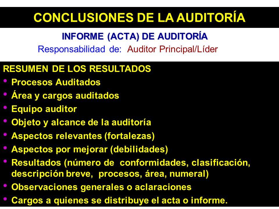 INFORME (ACTA) DE AUDITORÍA