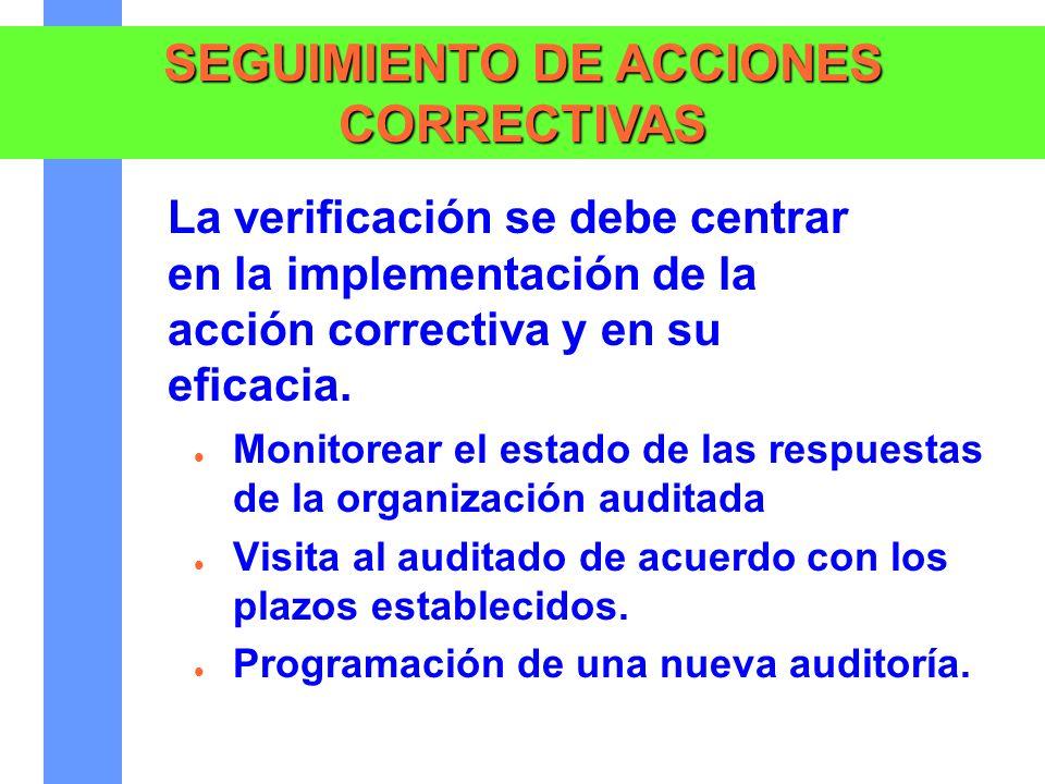 SEGUIMIENTO DE ACCIONES CORRECTIVAS