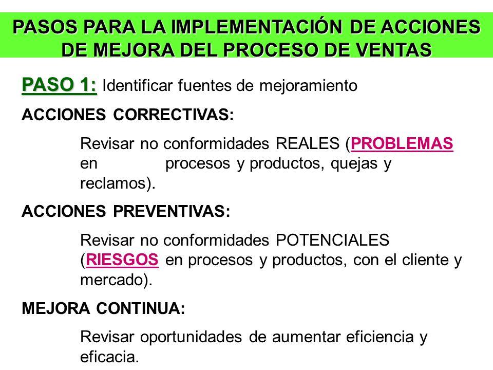 PASO 1: Identificar fuentes de mejoramiento