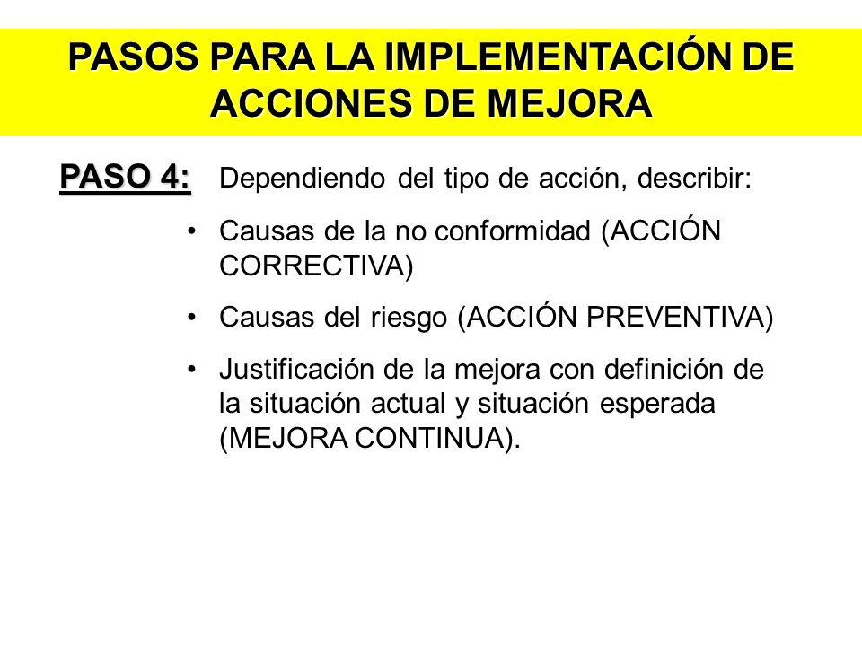 PASOS PARA LA IMPLEMENTACIÓN DE ACCIONES DE MEJORA