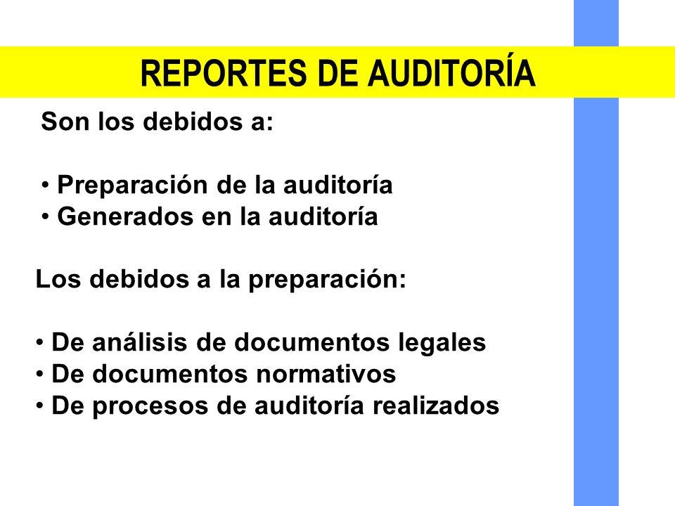 REPORTES DE AUDITORÍA Son los debidos a: Preparación de la auditoría