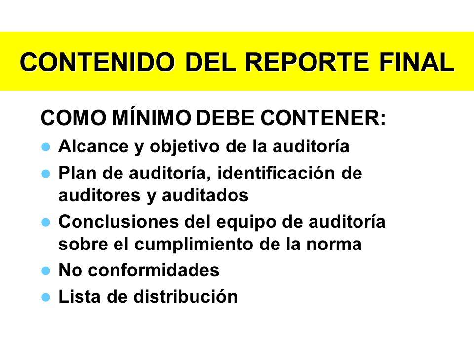 CONTENIDO DEL REPORTE FINAL