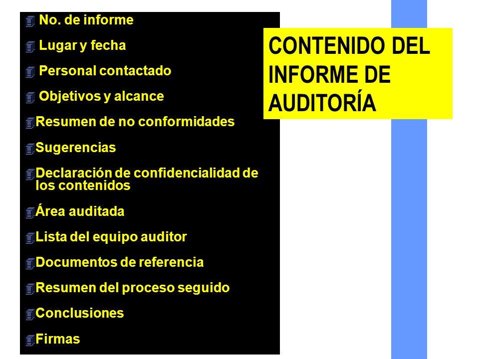 CONTENIDO DEL INFORME DE AUDITORÍA