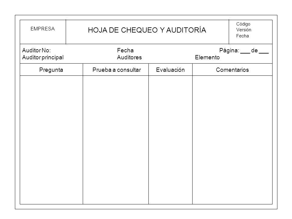 HOJA DE CHEQUEO Y AUDITORÍA