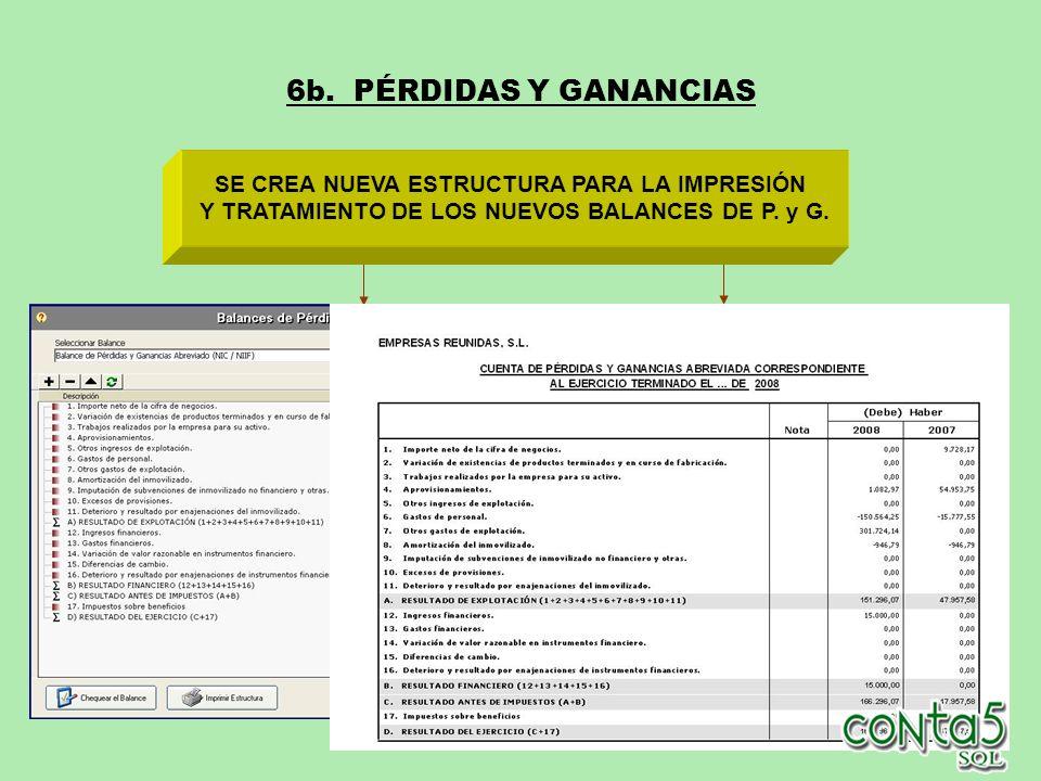 6b. PÉRDIDAS Y GANANCIAS SE CREA NUEVA ESTRUCTURA PARA LA IMPRESIÓN