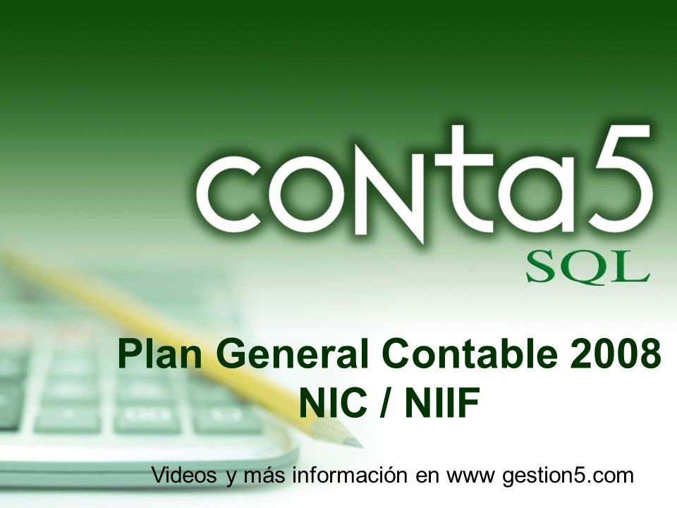Plan General Contable 2008 NIC / NIIF