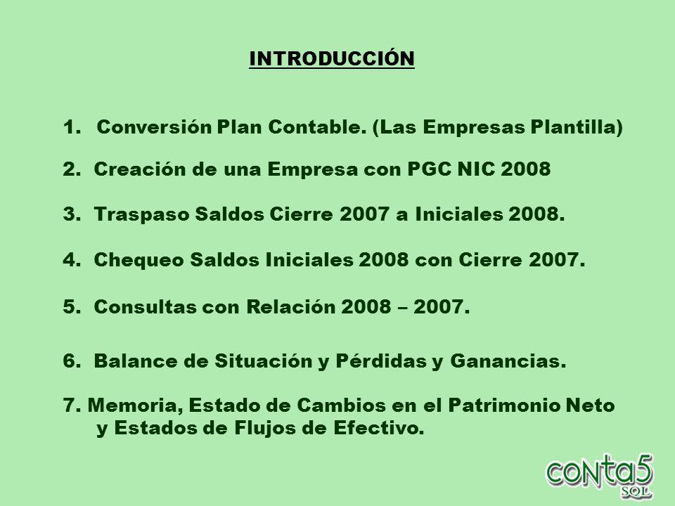 INTRODUCCIÓN Conversión Plan Contable. (Las Empresas Plantilla) 2. Creación de una Empresa con PGC NIC 2008.