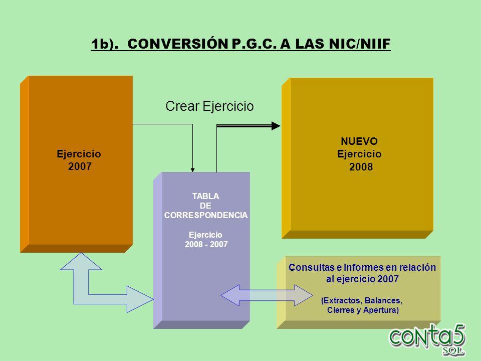 1b). CONVERSIÓN P.G.C. A LAS NIC/NIIF