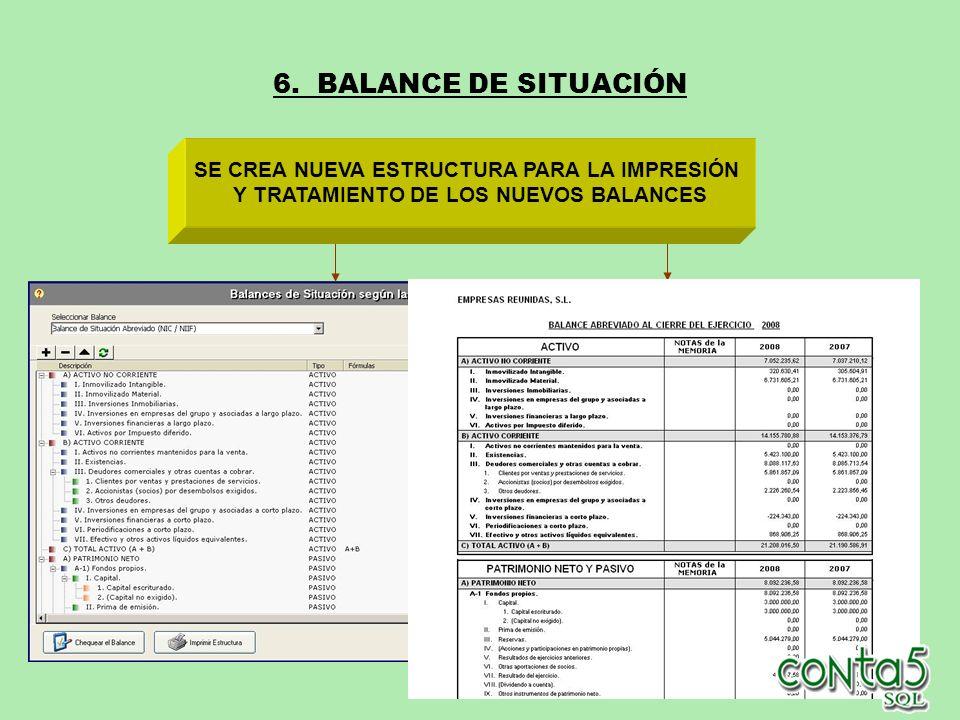 6. BALANCE DE SITUACIÓN SE CREA NUEVA ESTRUCTURA PARA LA IMPRESIÓN