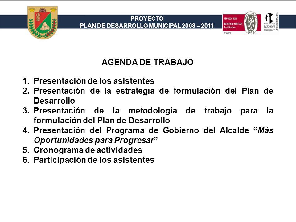AGENDA DE TRABAJO Presentación de los asistentes. Presentación de la estrategia de formulación del Plan de Desarrollo.