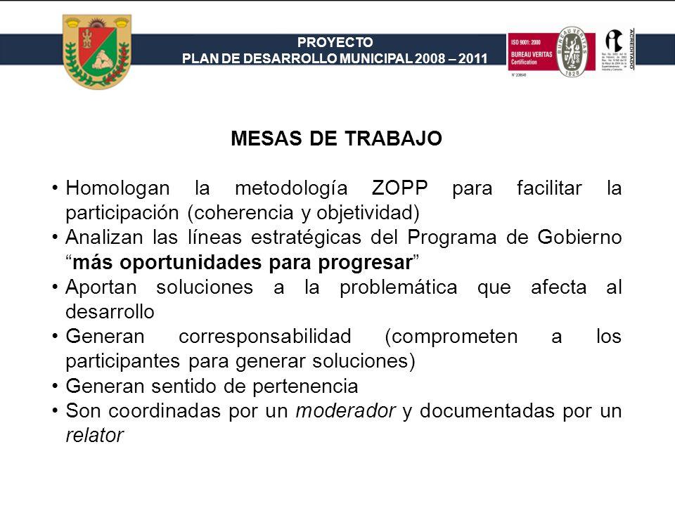 MESAS DE TRABAJO Homologan la metodología ZOPP para facilitar la participación (coherencia y objetividad)