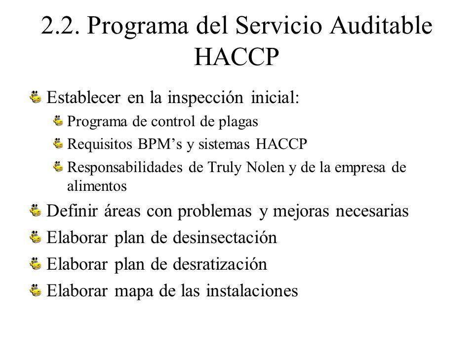 2.2. Programa del Servicio Auditable HACCP